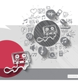 Hand drawn cassette icons with icons background vector image vector image