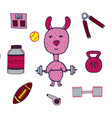 hand-drawn lama the athlete with a bar and sports vector image vector image