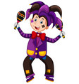 happy clown in purple suit playing maracas vector image vector image