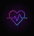 heartbeat colored icon heart rate outline vector image