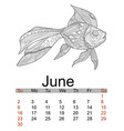 june calendar 2019 antistress coloring gold fish vector image vector image