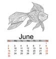 june calendar 2019 antistress coloring gold fish vector image