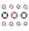 lifebuoy symbol set vector image vector image