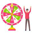 lucky player playing gambling wheel casino vector image vector image