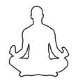 meditating man practicing yoga symbol icon black vector image vector image