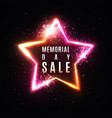 memorial day sale banner realistic glowing star vector image