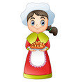 pilgrim girl carrying a delicious bread vector image vector image