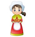 pilgrim girl carrying a delicious bread vector image