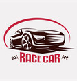 race car symbol logo template stylized silhouette vector image vector image