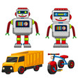 robot and vehicle toys vector image vector image