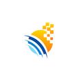 rounded stripe media technology logo vector image