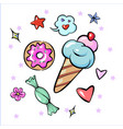 set of fun trendy sweets heart star icecream candy vector image vector image