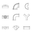sewer pipes icon set outline style vector image vector image