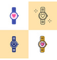 smart watch with heart icon set in flat and line vector image vector image