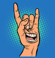 smile emotion men hand rock gesture vector image vector image