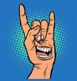 smile emotion men hand rock gesture vector image