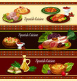 spanish cuisine meat and seafood dish banner set vector image vector image