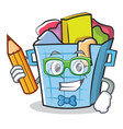 student laundry basket character cartoon vector image vector image