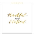 Thankful and blessed gold lettering isolated on vector image vector image