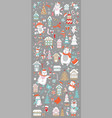 vertical banner christmas characters on grey vector image