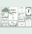 wedding invitation card eucalyptus design vector image vector image