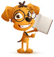yellow smart dog teacher with glasses holds an vector image