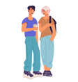 young girl and boy students talking flat vector image vector image