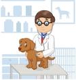 Cartoon veterinary examining dog vector image