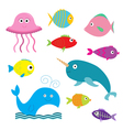 Sea and ocean animal set Isolated Fish jellyfish vector image