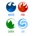 4 elements nature round icons water earth fire