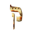 alphabet hebrew passover matzah hebrew letter kuf vector image vector image