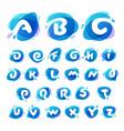 alphabet logos at blue water splash background