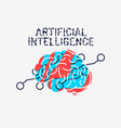 artificial intelligence themed sign logo design vector image