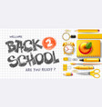 back to school horizontal flat lay banner design vector image vector image