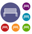 bench icons set vector image vector image