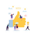 big hand with thumb up and working flat people vector image vector image