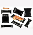 black polymer packaging for foods chocolate bar vector image vector image