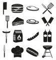 black white bbq outdoors 16 element silhouette set vector image