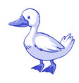 blue duck on white background vector image vector image