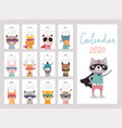 calendar 2020 cute monthly calendar with super vector image vector image