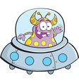 Cartoon alien in a spaceship vector image
