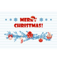 cartoon greeting blue card merry christmas vector image vector image