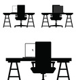 chair set in black color on white vector image vector image