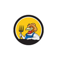 Chicken Farmer Pitchfork Circle Cartoon vector image