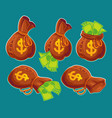 collection cartoon bags with banknotes vector image