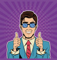 cool businessman pop art cartoon vector image