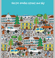 doodles street in sity people cars houses and blue vector image vector image