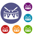 drum and drumsticks icons set vector image vector image