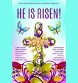 easter cross with flowers and eggs greeting card vector image vector image