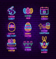 easter neon label set vector image vector image